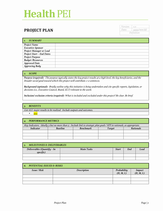 Project Charter Template Free Documents for Pdf