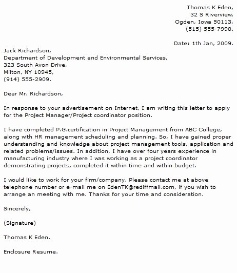 Project Coordinator Cover Letter Example Letter Of