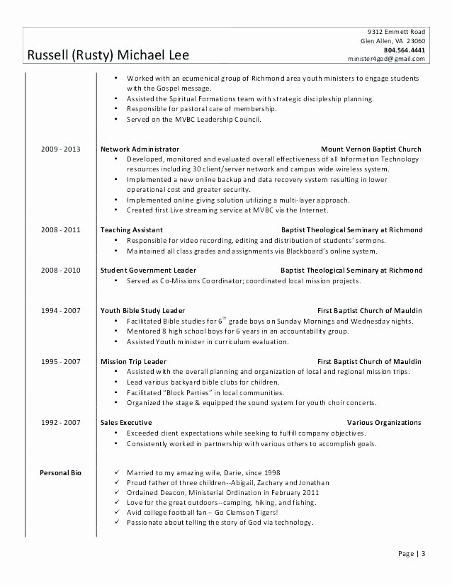 Project Coordinator Sample Resume Pastor Cover Letter