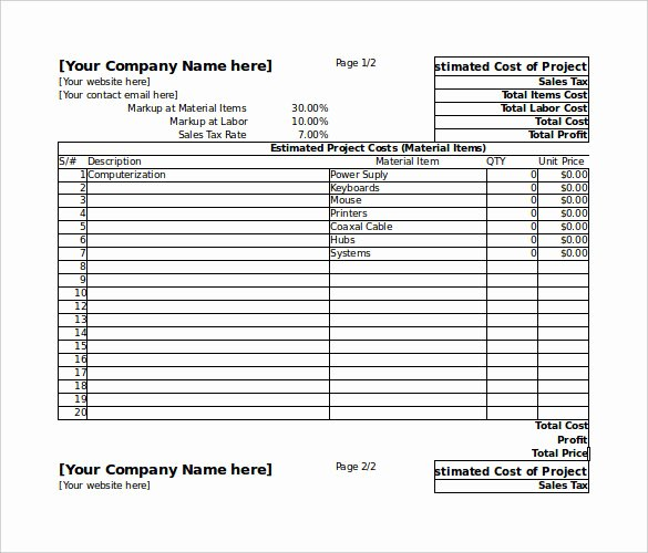 Project Costing Template Excel Free Excel Project