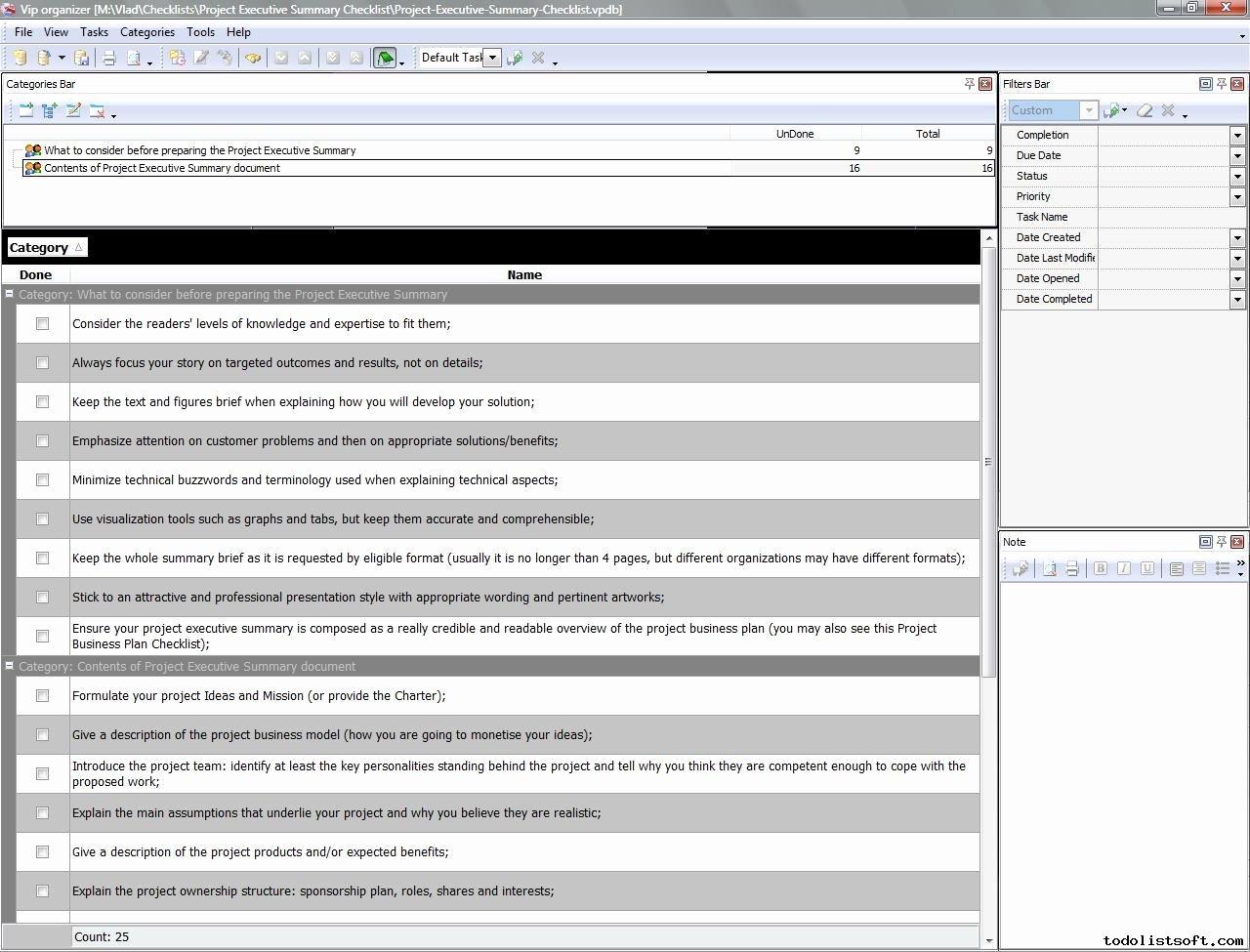 Project Executive Summary Checklist to Do List