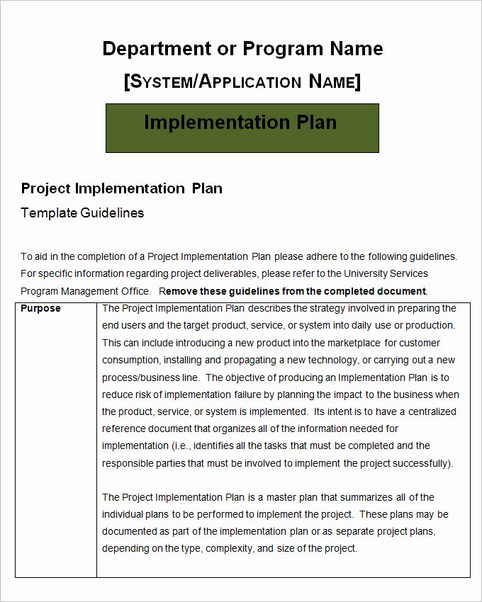 Project Implementation Plan Template 5 Free Word Excel