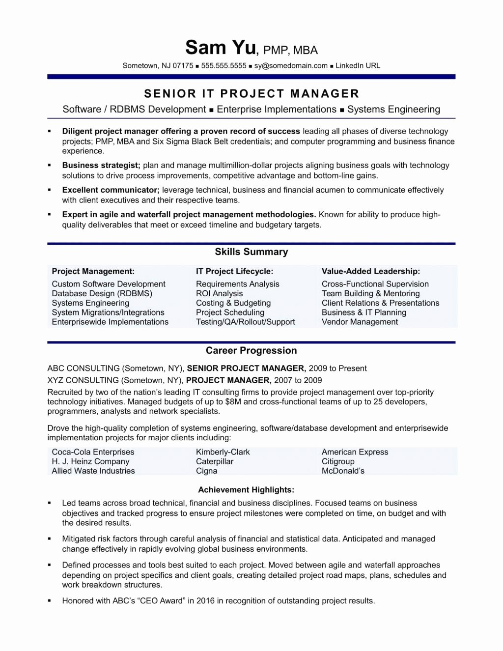 Project Management Linkedin Summaryple Template Report
