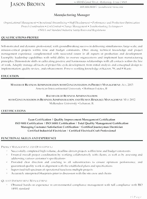 Project Management Resume Objective Objective for Project