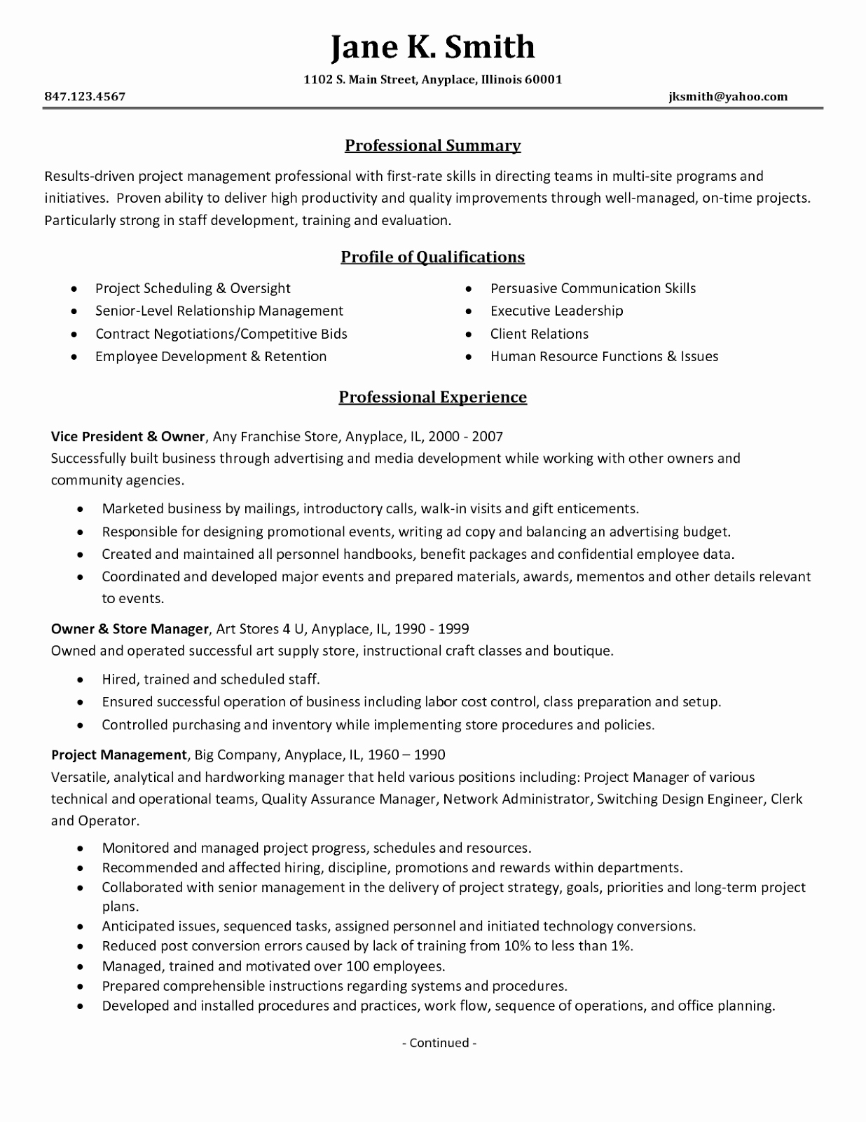 Project Management Resume Samples 2016