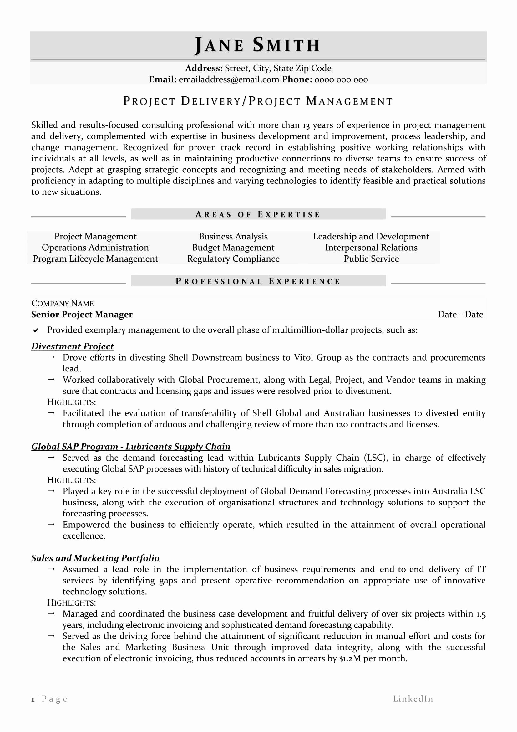 Project Management Resume Samples Awesome Senior Project