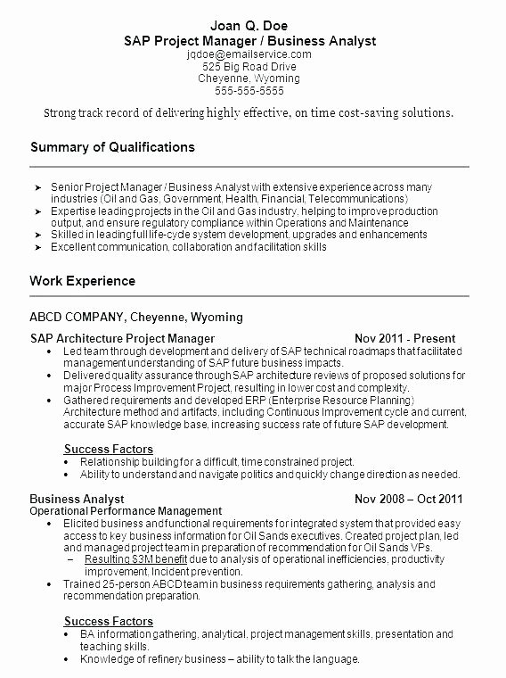 Project Management Resume Skills Staruptalent