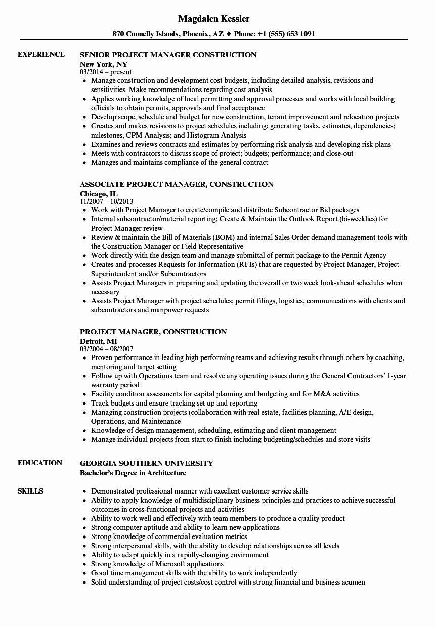 Project Manager Construction Resume Samples
