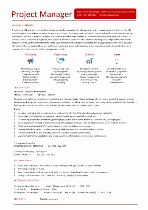 Project Manager Cv Example Construction Project Manager