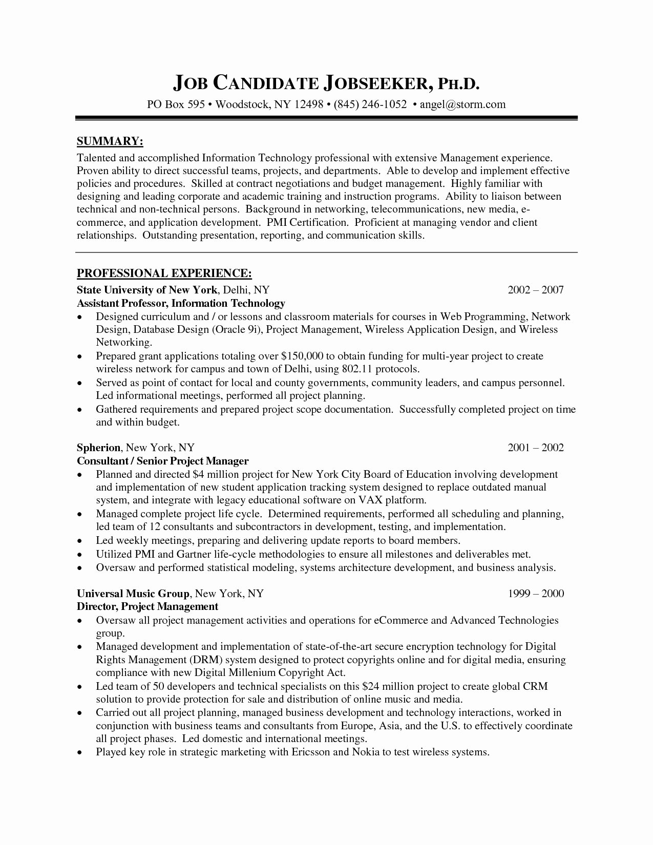 project manager resume sample free
