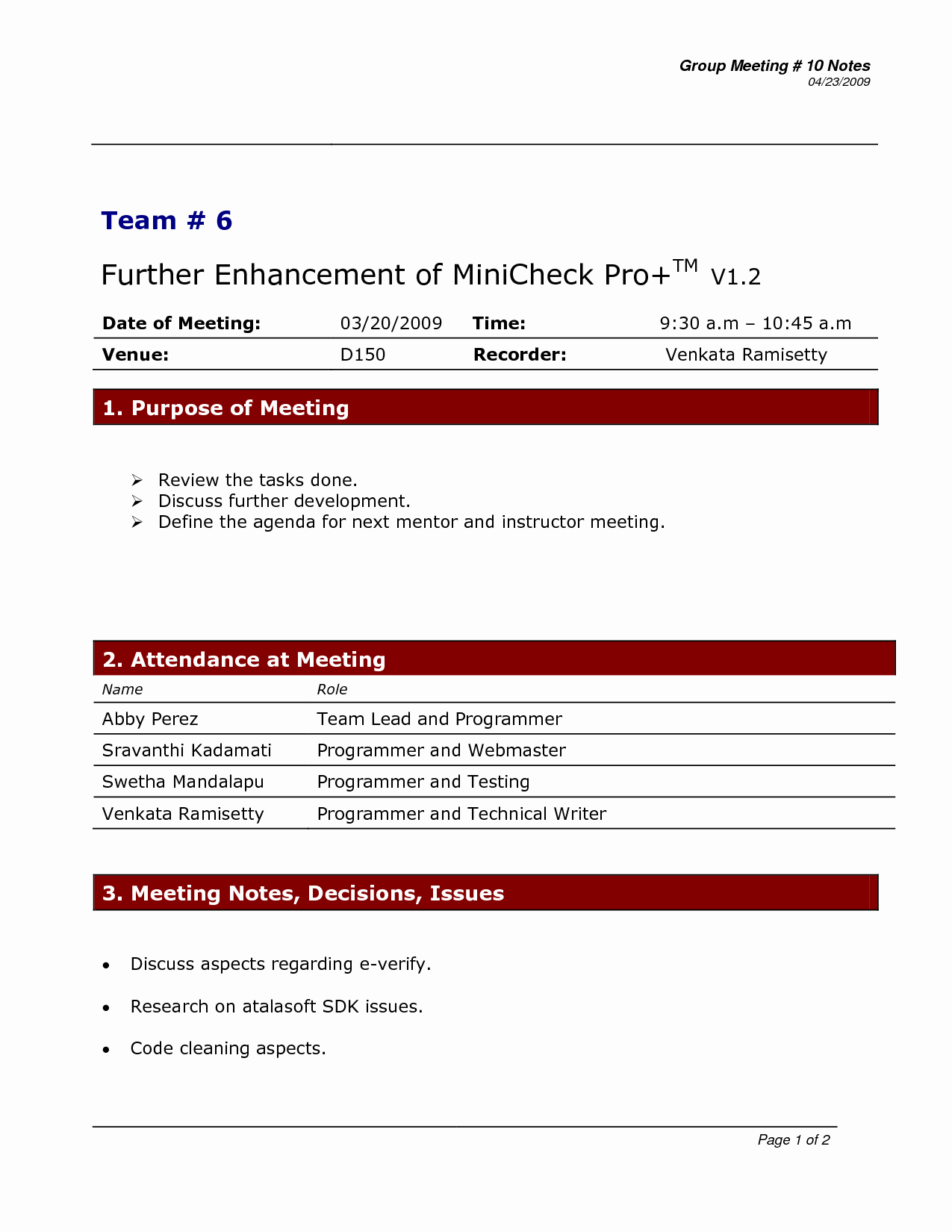 Project Meeting Minutes Template Doc 2 by 43zdcl50