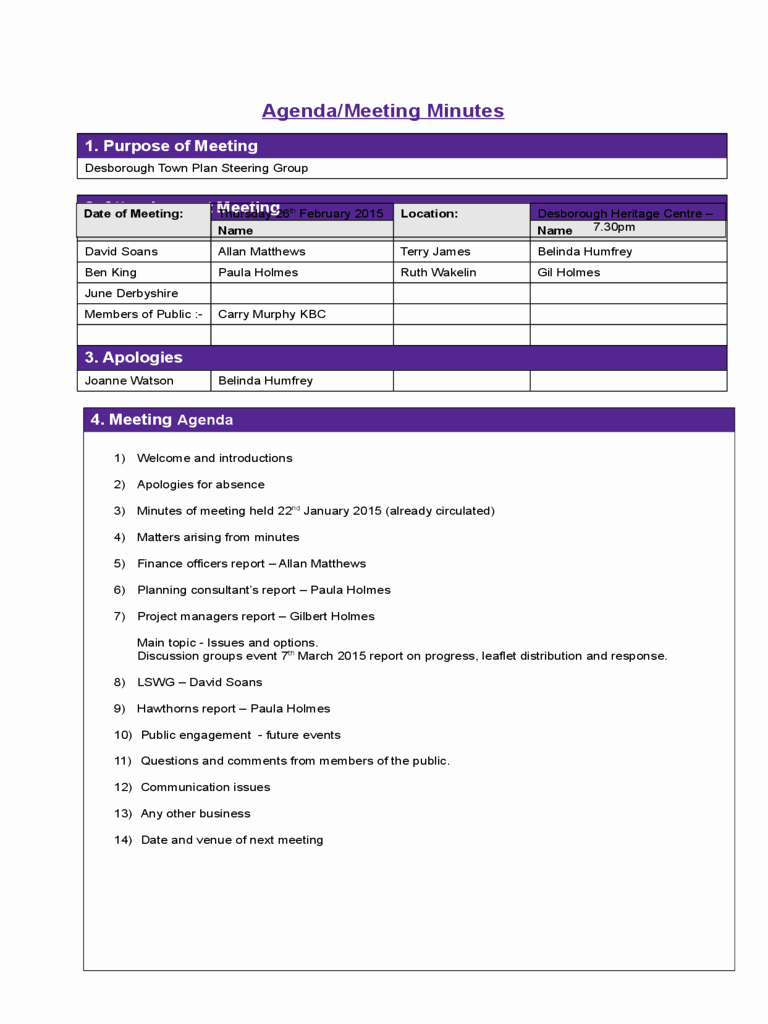 Project Meeting Minutes Template Sample Edit Fill Sign