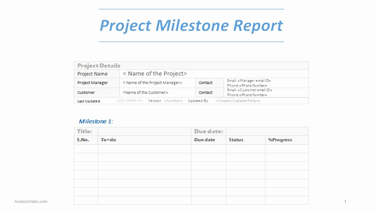 Project Milestone Report Word Template