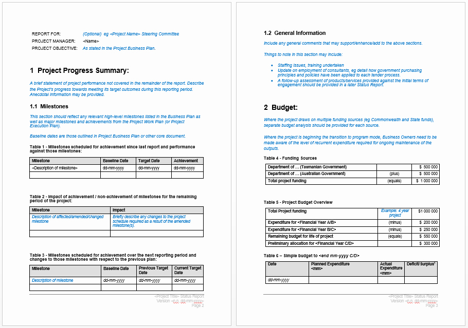 Project Progress Report Template – Microsoft Word Templates
