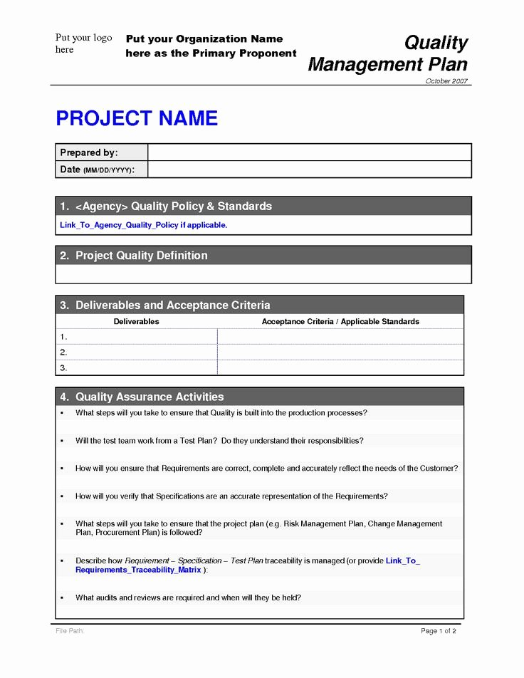 Project Quality Plan Template 2 by Malj