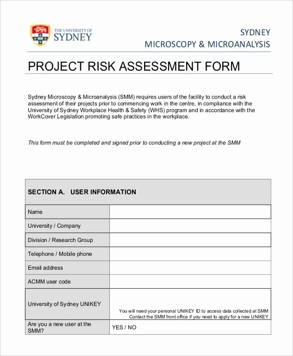 Project Risk assessment Template Image Collections