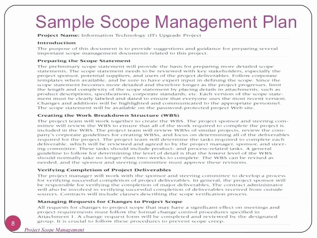Project Scope Statement Examples Management Example