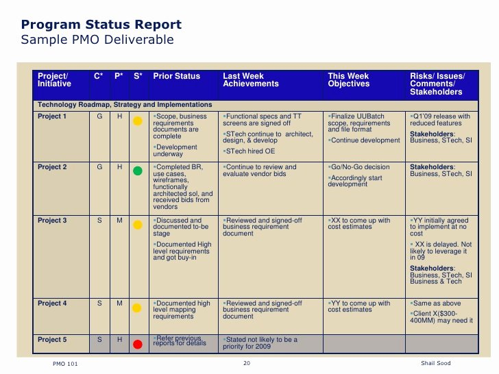 Project Status Report format Excel Free Construction