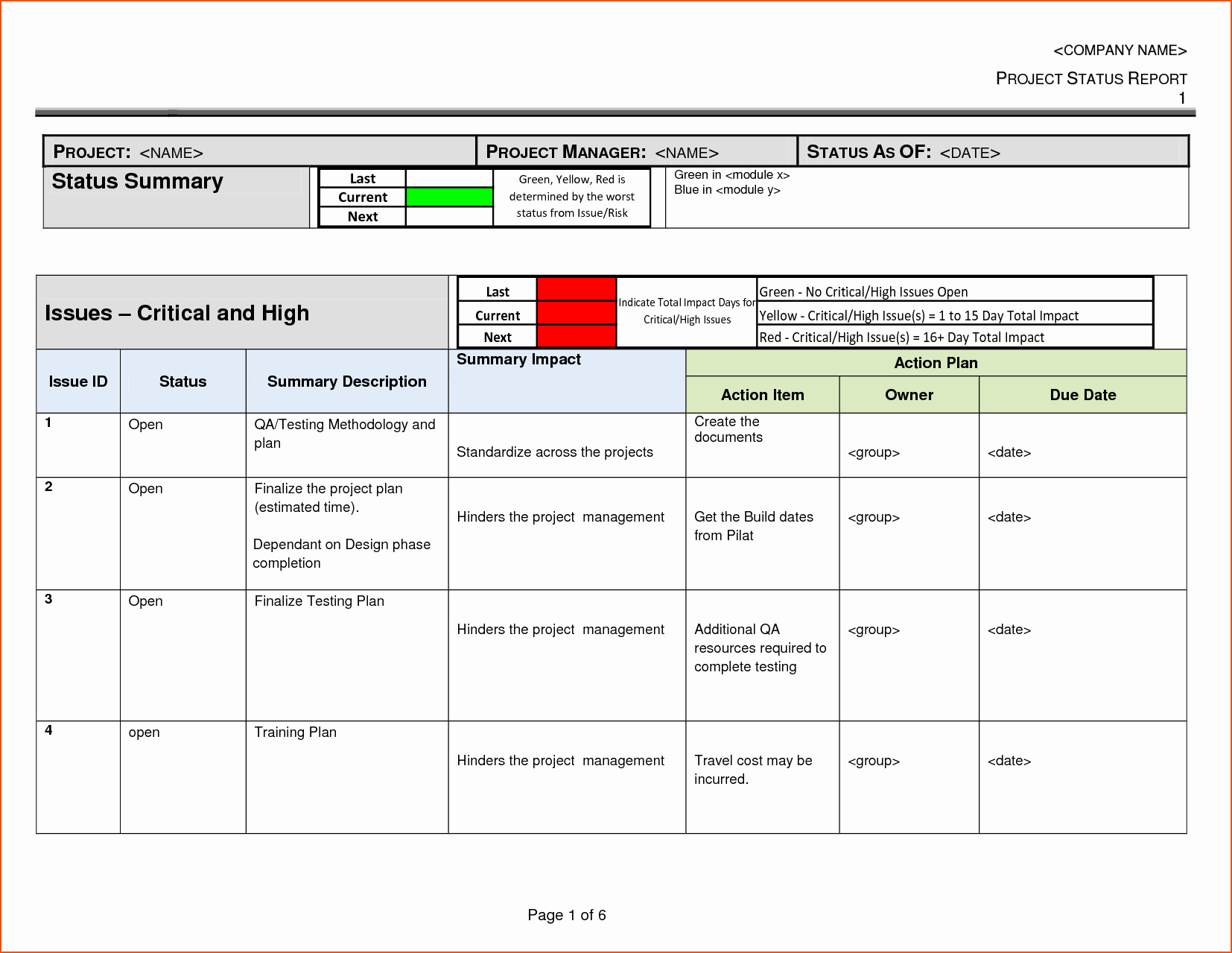 Project Status Report Sample Excel 7 Project Status