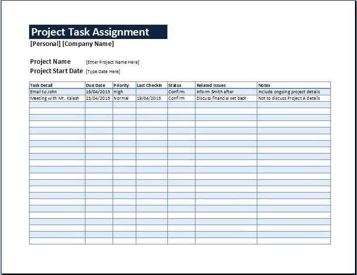 Project Task assignment Management Sheet