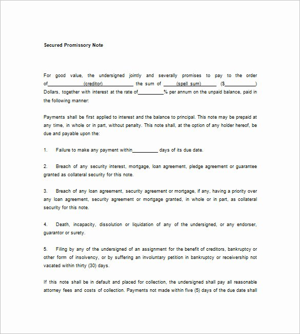 Promissory Note form Template – 8 Free Word Excel Pdf