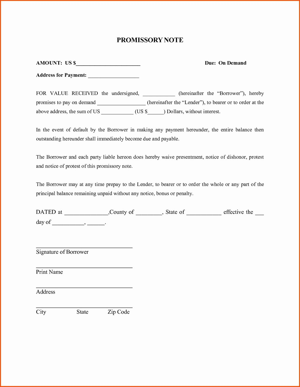 Promissory Note format In Word forms 3066