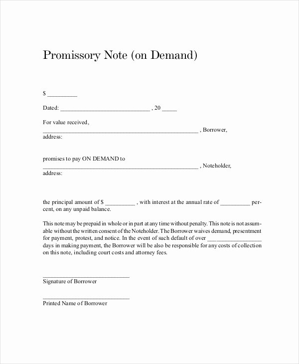 Promissory Note Template 15 Free Word Pdf Document
