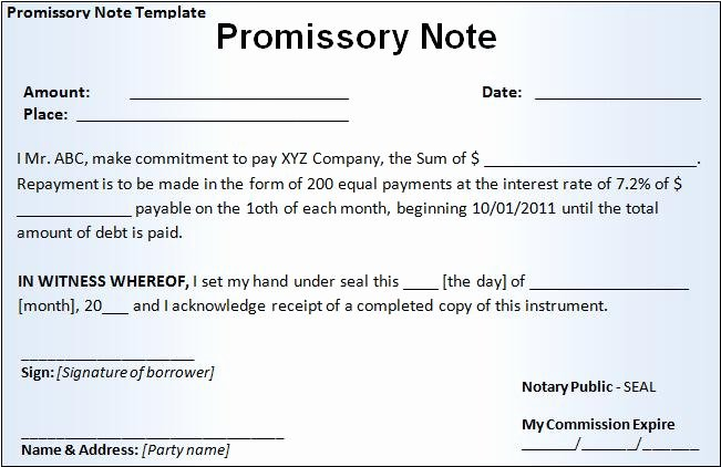 Promissory Note Template Free Word Templatesfree Word