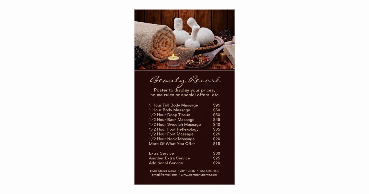 Promotional Spa Menu Services Poster Template