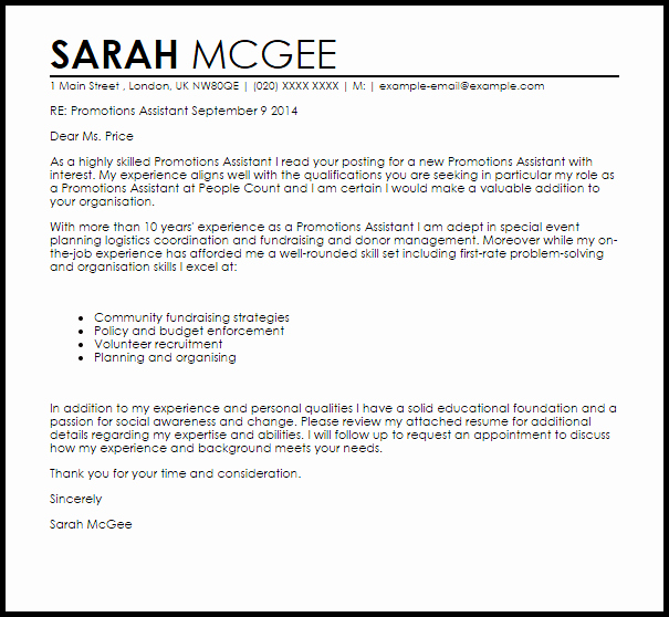 Promotions assistant Cover Letter Sample