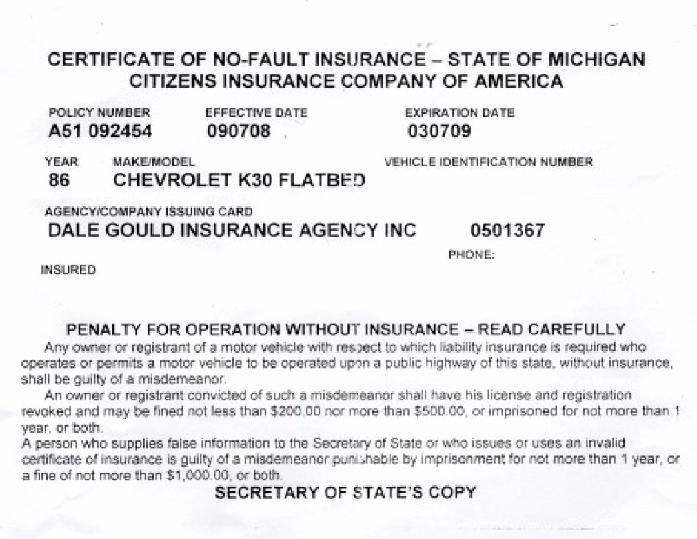 Proof Auto Insurance Template Free