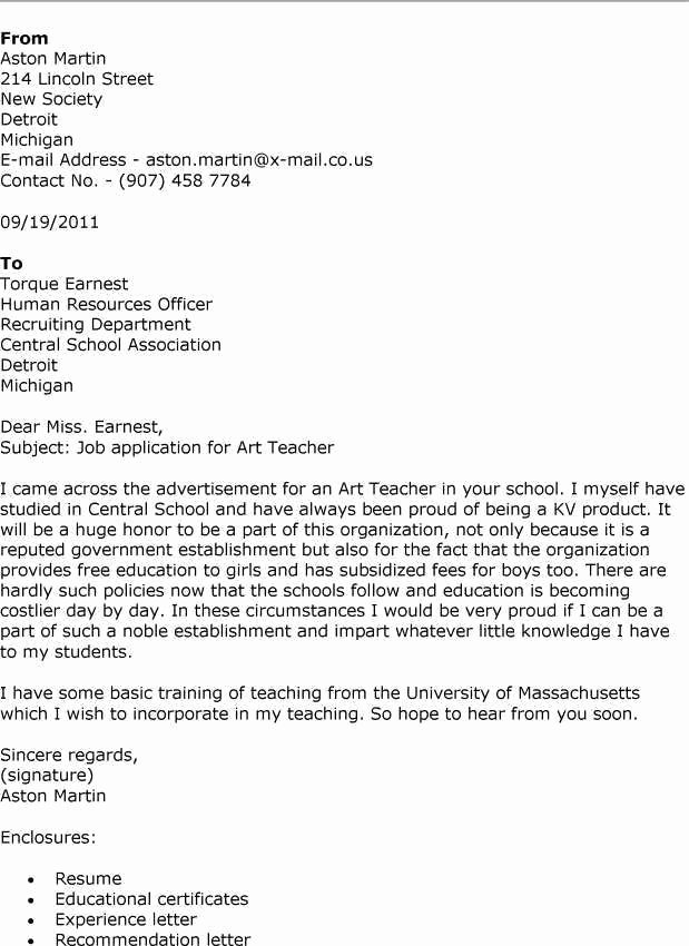 Proper Art Teacher Cover Letter – Letter format Writing