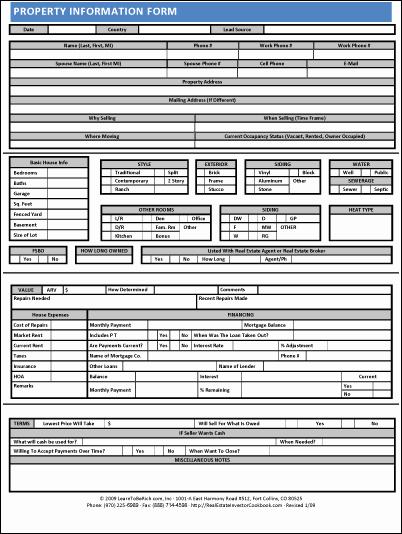 Property Information Sheet