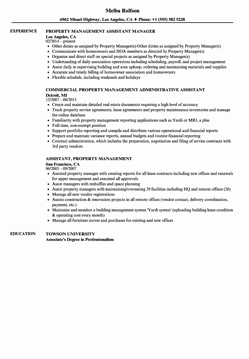Property Management assistant Resume Samples