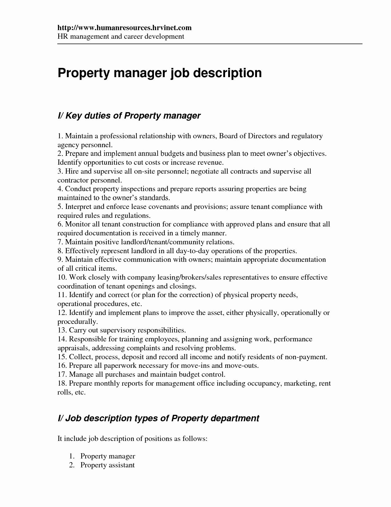 property manager job description samples