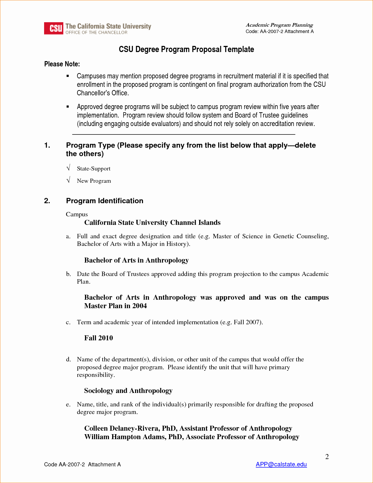 Proposal Program Proposal Template