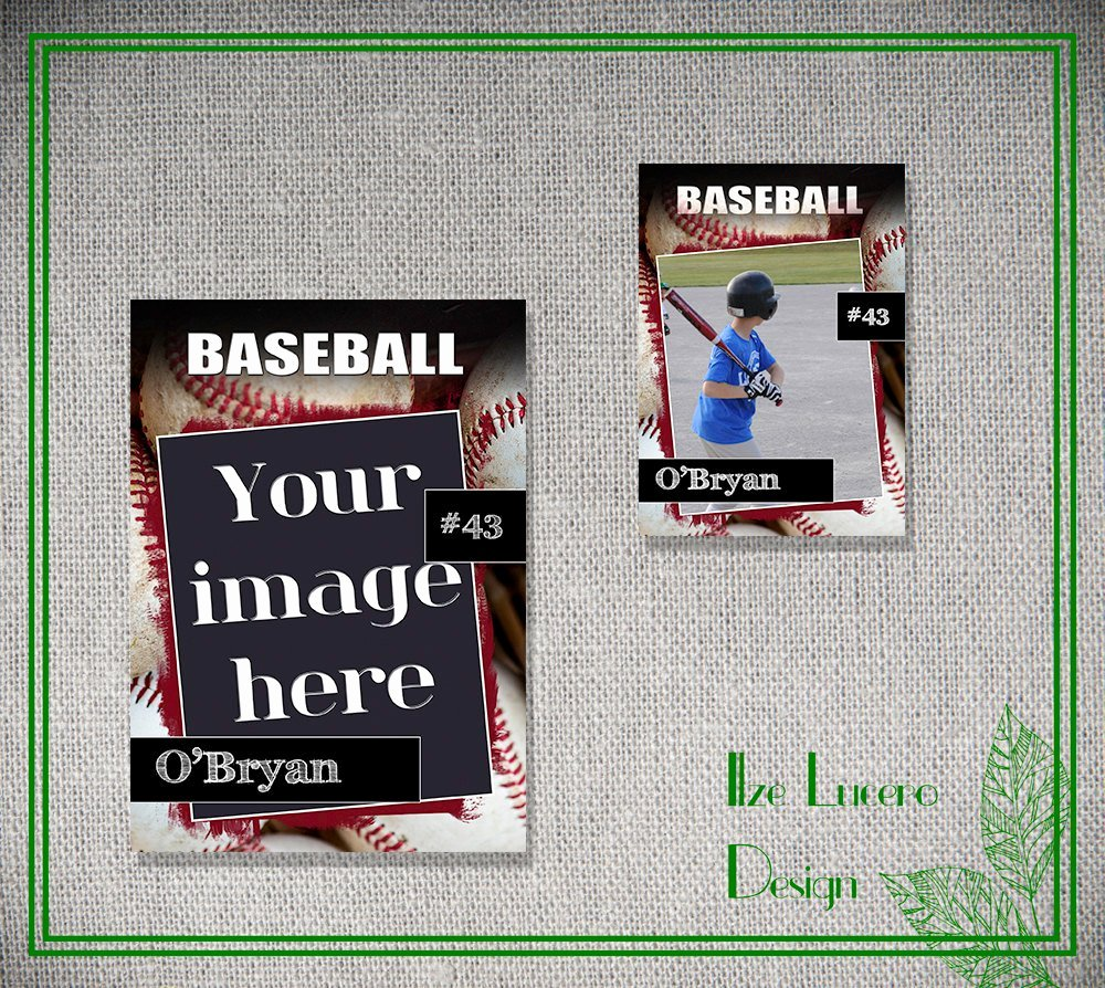Psd Baseball Trading Card Template by Ilzesdesigns On Etsy