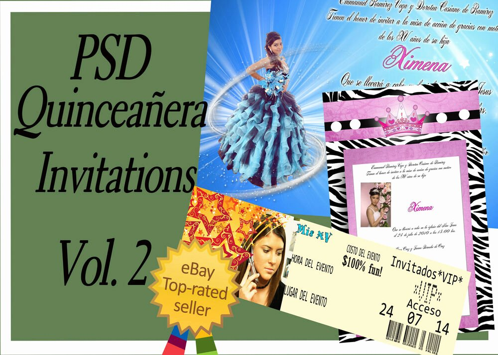 Psd Shop Templates for Quinceaneras Invitations Vol