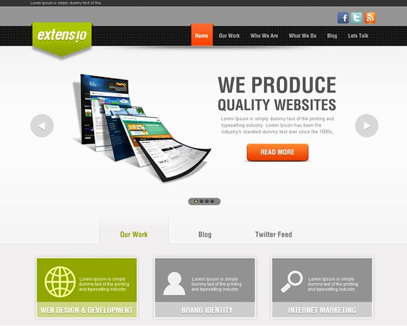 Psd to HTML Latest Psd to HTML Website Template Free