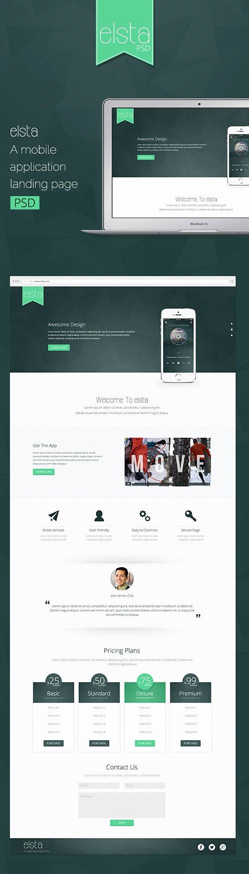 Psd Web Template – Elsta – Mobile Application Landing Page