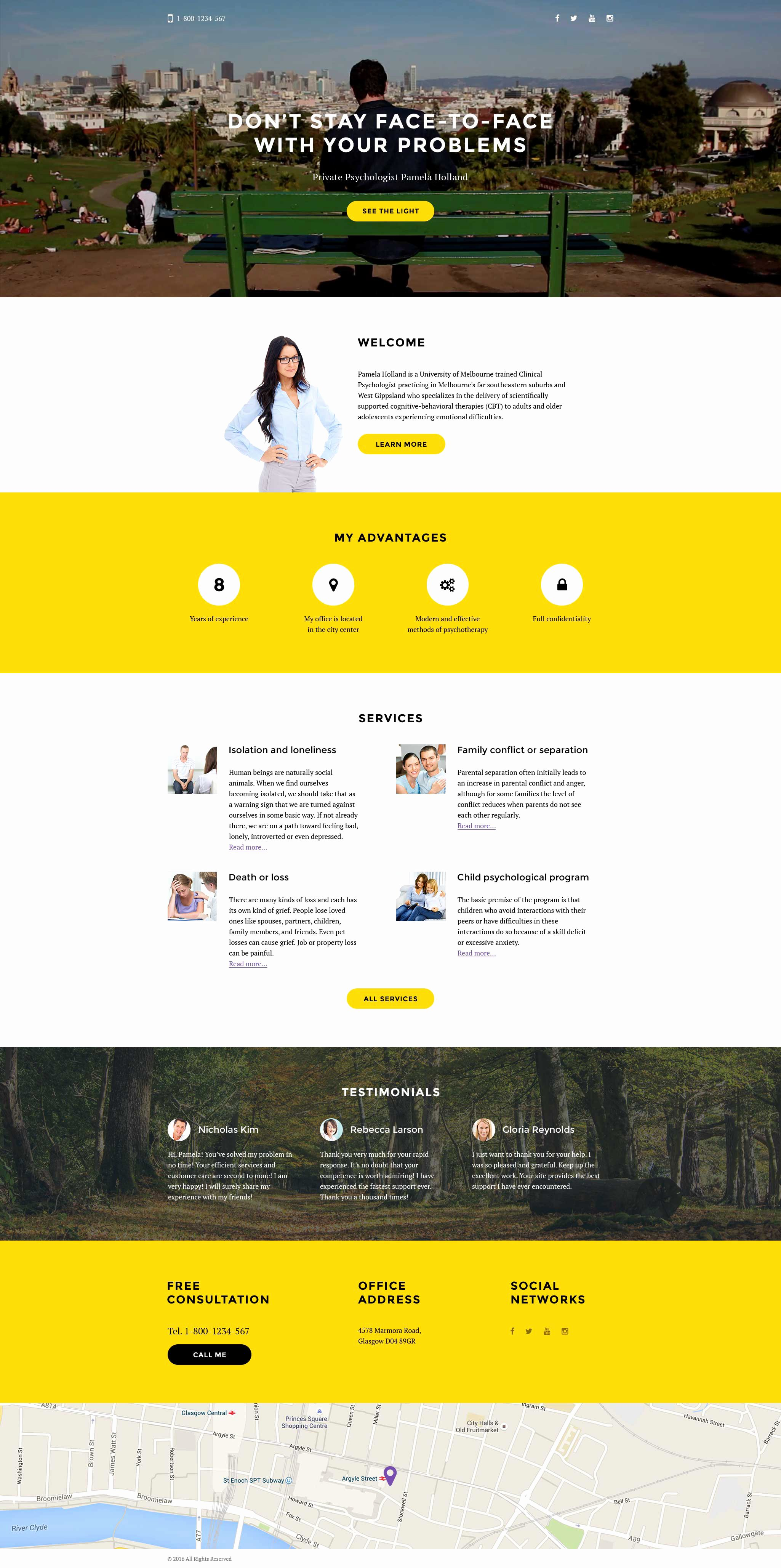 Psychologist Responsive Landing Page Template