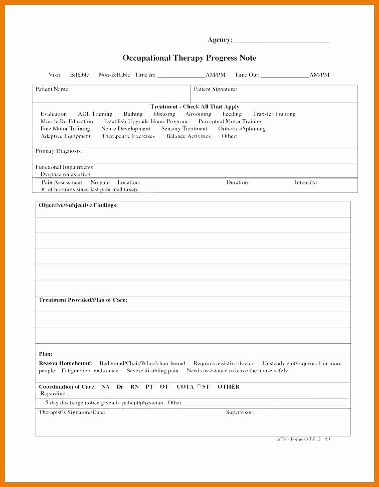 Psychotherapy Progress Note Template New Client Free