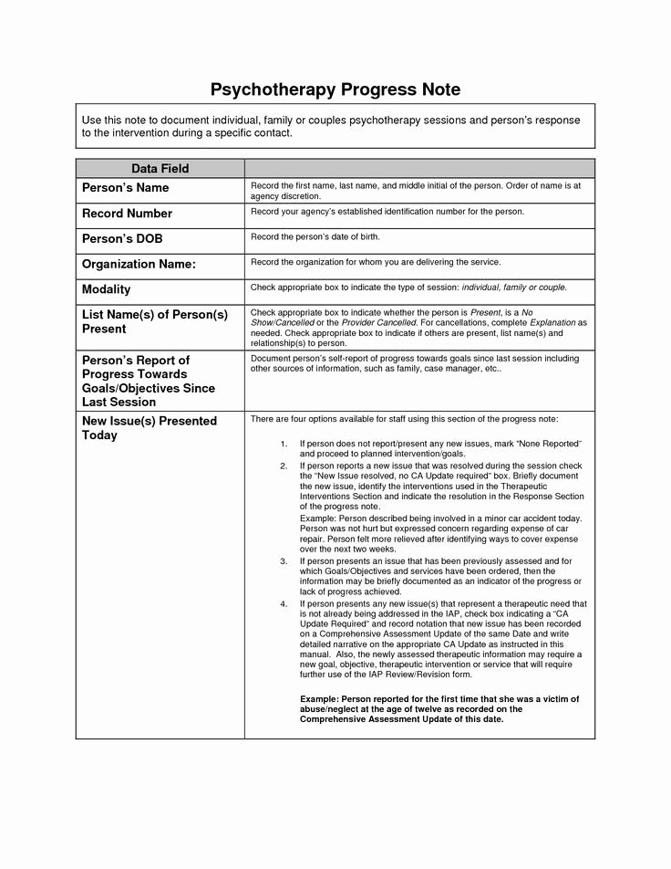 Psychotherapy Progress Notes Template Google Search