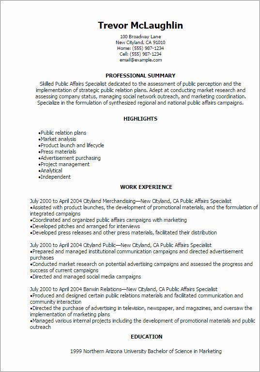 Public Affairs Specialist Resume Template — Best Design
