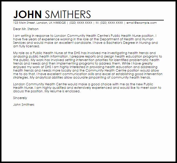 Public Health Nurse Cover Letter Sample