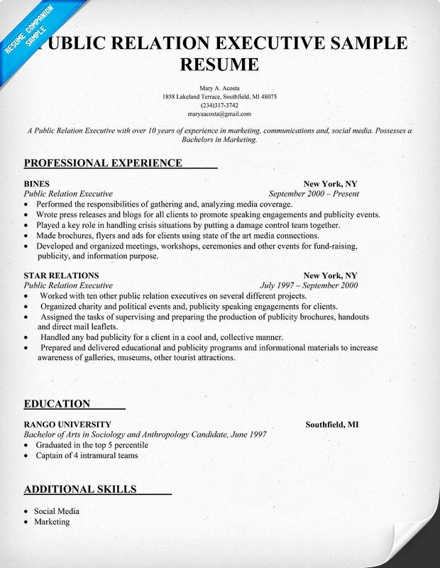 Public Relation Executive Resume Sample Resume Panion