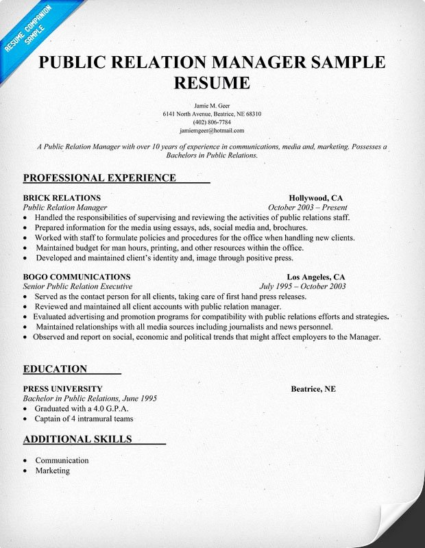 Public Relation Manager Resume Sample Pr Latter Example Template
