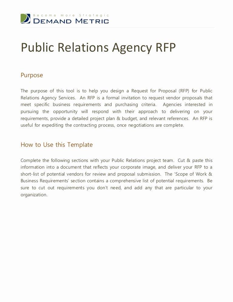 Public Relations Agency Rfp