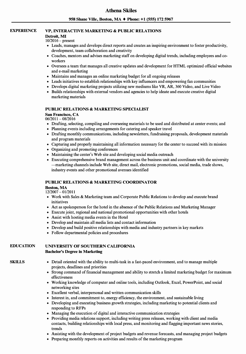 Public Relations & Marketing Resume Samples