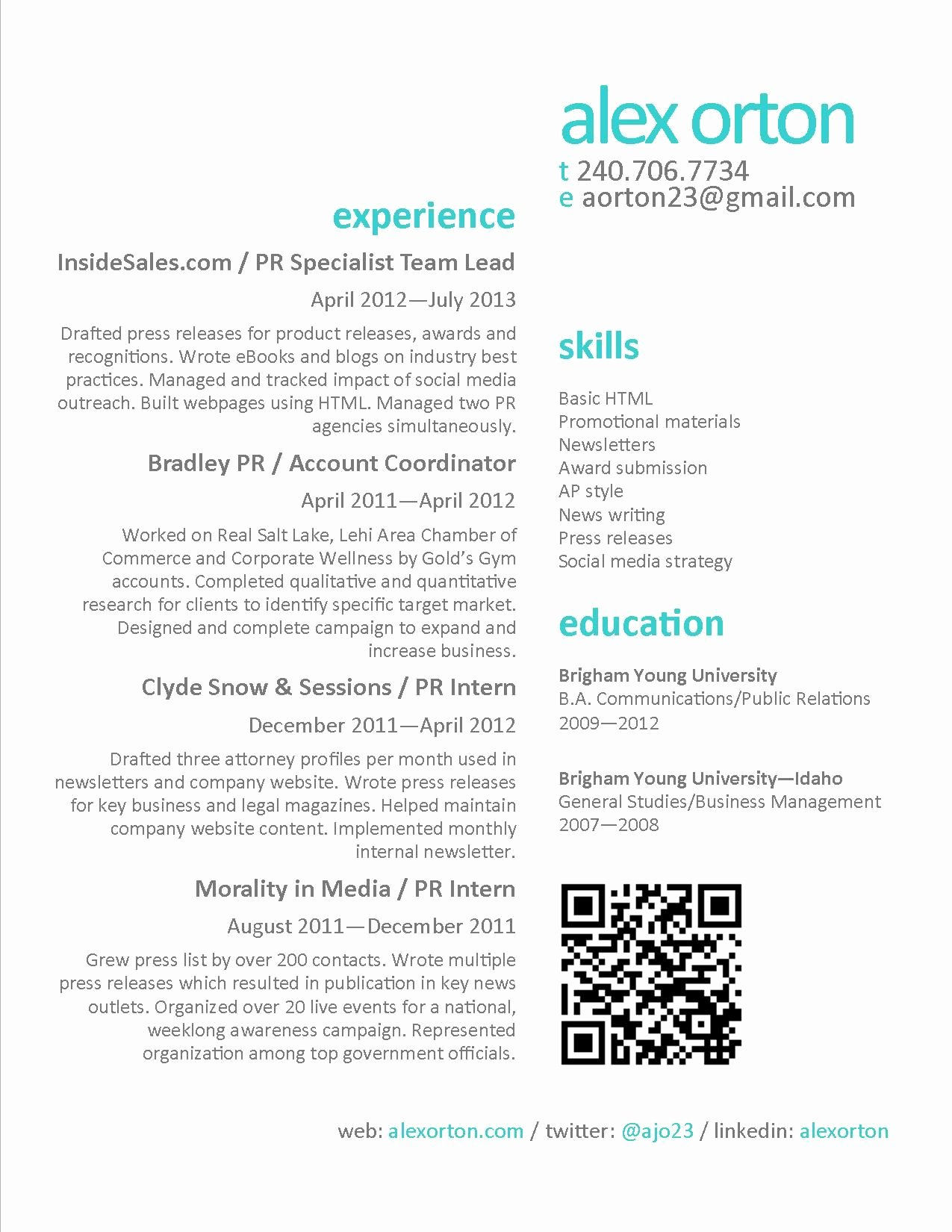 Public Relations and Marketing Resume